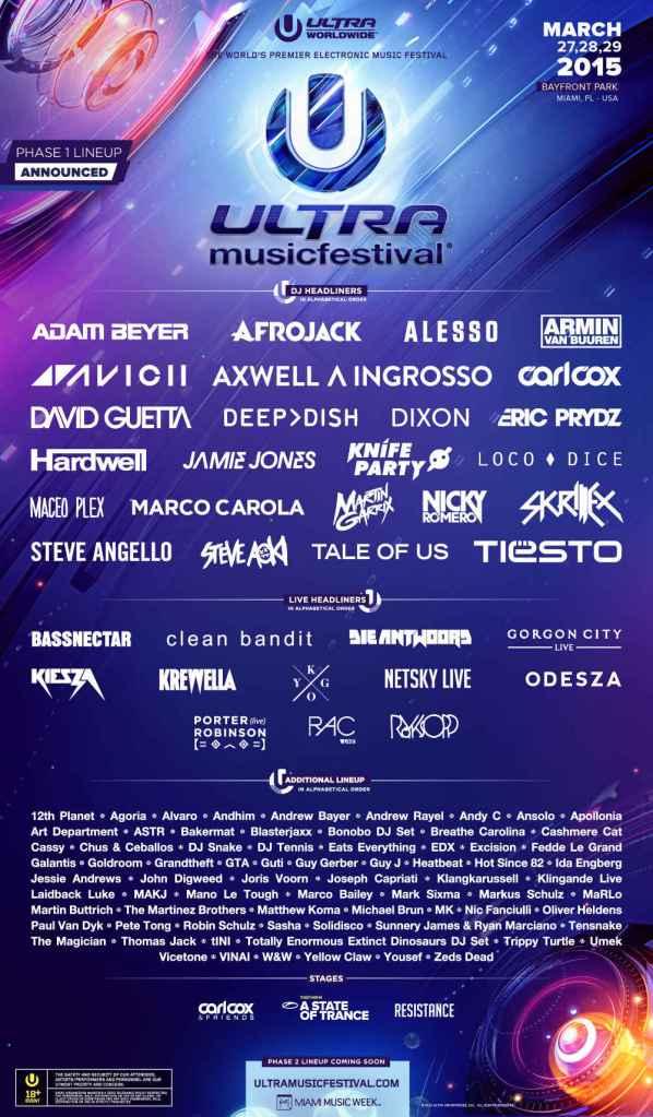 Ultra Music Festival 2015 演出者名單。如此多的藝人,想必各舞台的演出時間相對也會被壓縮!