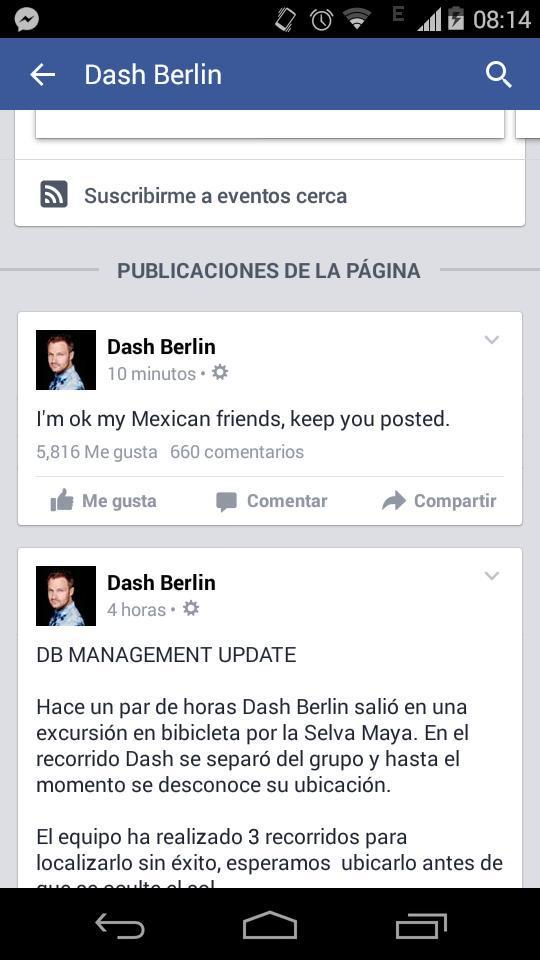 Dash Berlin寫到:墨西哥的朋友們,我沒事!我會持續發動態!